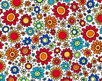 100/% cotton, Quilting Treasures Reg 2.99-17.99 Little flower blue red yellow sun