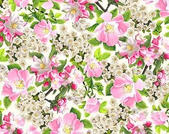 Pink Wild Roses 26367-E by QT Fabrics Cotton Fabric Yardage