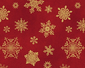 Bolt End 27in - Cat-i-tude Christmas Playful Flakes Red/Gold Metallic 6747M-10 by Benartex 100% Cotton Quilting Fabric