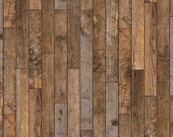 Bolt End 24in - Maverick Wood Planks Brown Multi 23618-34 by Nothcott 100% Cotton Quilting Fabric
