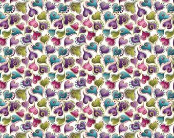 Cat-i-tude Swirling Hearts White 4204M-09 by Benartex 100% Cotton Quilting Fabric Yardage