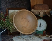 Primitive Farmhouse Rimmed Wood Butter Bowl, Rustic Country Turned Dough Bowl, 10 1 2 x 10