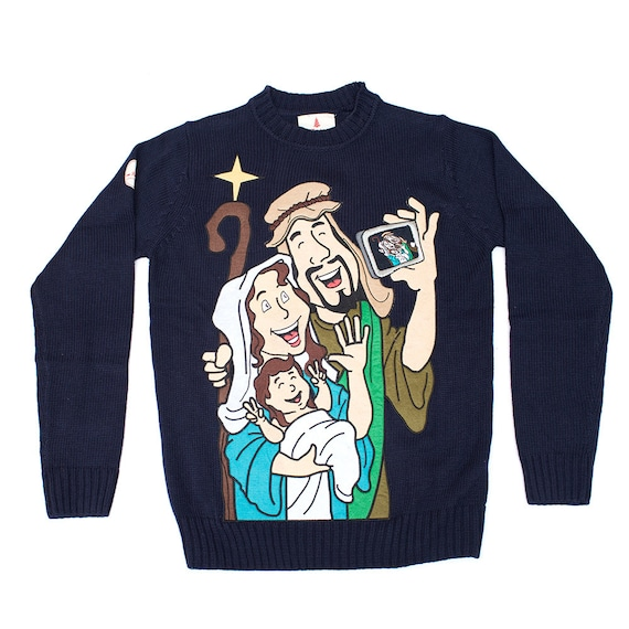 Christmas Sweater The Baby Jesus Selfie Christmas Sweater Etsy