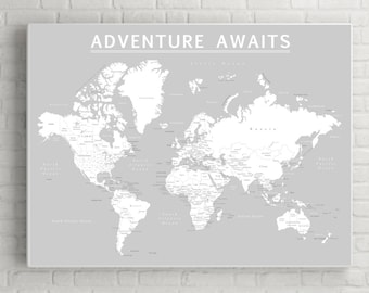 World Push Pin Map (Print Only), Travel Map, Map Poster, Travel Board, Grey Color, Wedding - Anniversary Gift  #World-009