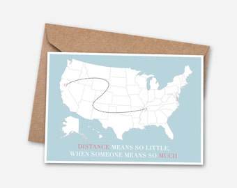 long distance card etsy