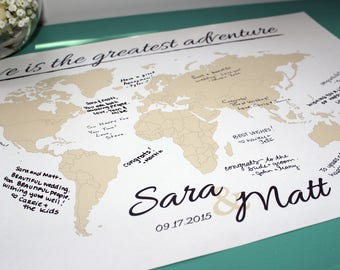 World map guest book etsy wedding guestbook world map print with names date personalized travel map map poster wedding anniversary gift wedding book sign gumiabroncs Choice Image