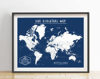 World map pin board etsy personalized world push pin map print only travel map map poster travel board navy color wedding anniversary gift world 004 gumiabroncs Images