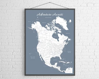 Push pin map etsy north america push pin map print only canada map mexico map travel map map poster travel board wedding anniversary gift gumiabroncs Images