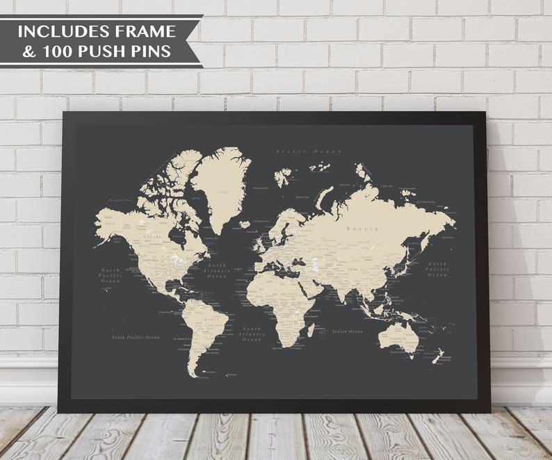 18x24 World Push Pin Map With Frame 100 Push Pins Travel Etsy