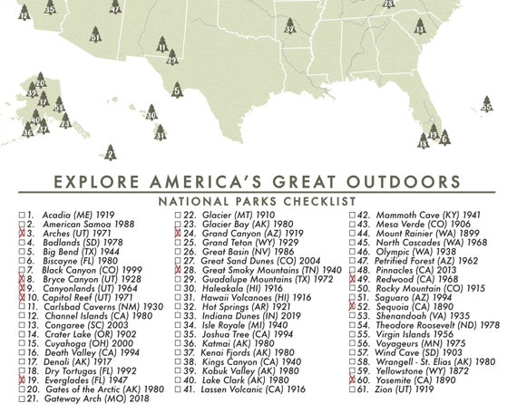 National Parks Map of the United States - Parks Checklist - American  National Parks - Outdoor Map - Hiking Map - Adventure Map - USA-012