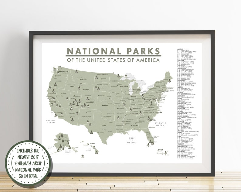 Detailed National Parks Map of the United States - Parks Checklist -  American National Parks - Outdoor Map - Hiking Map - Adventure Map