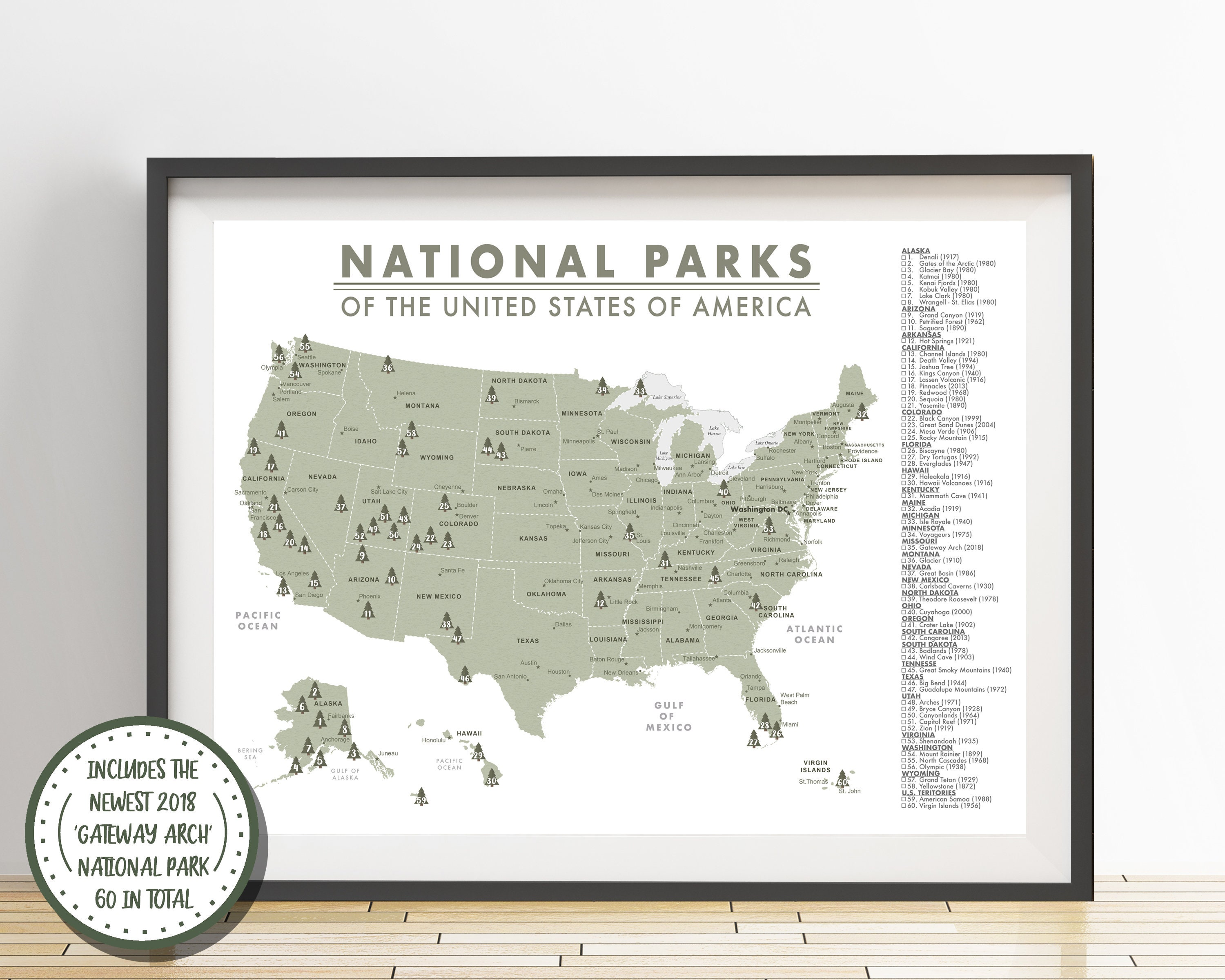 Detailed National Parks Map of the United States Parks | Etsy