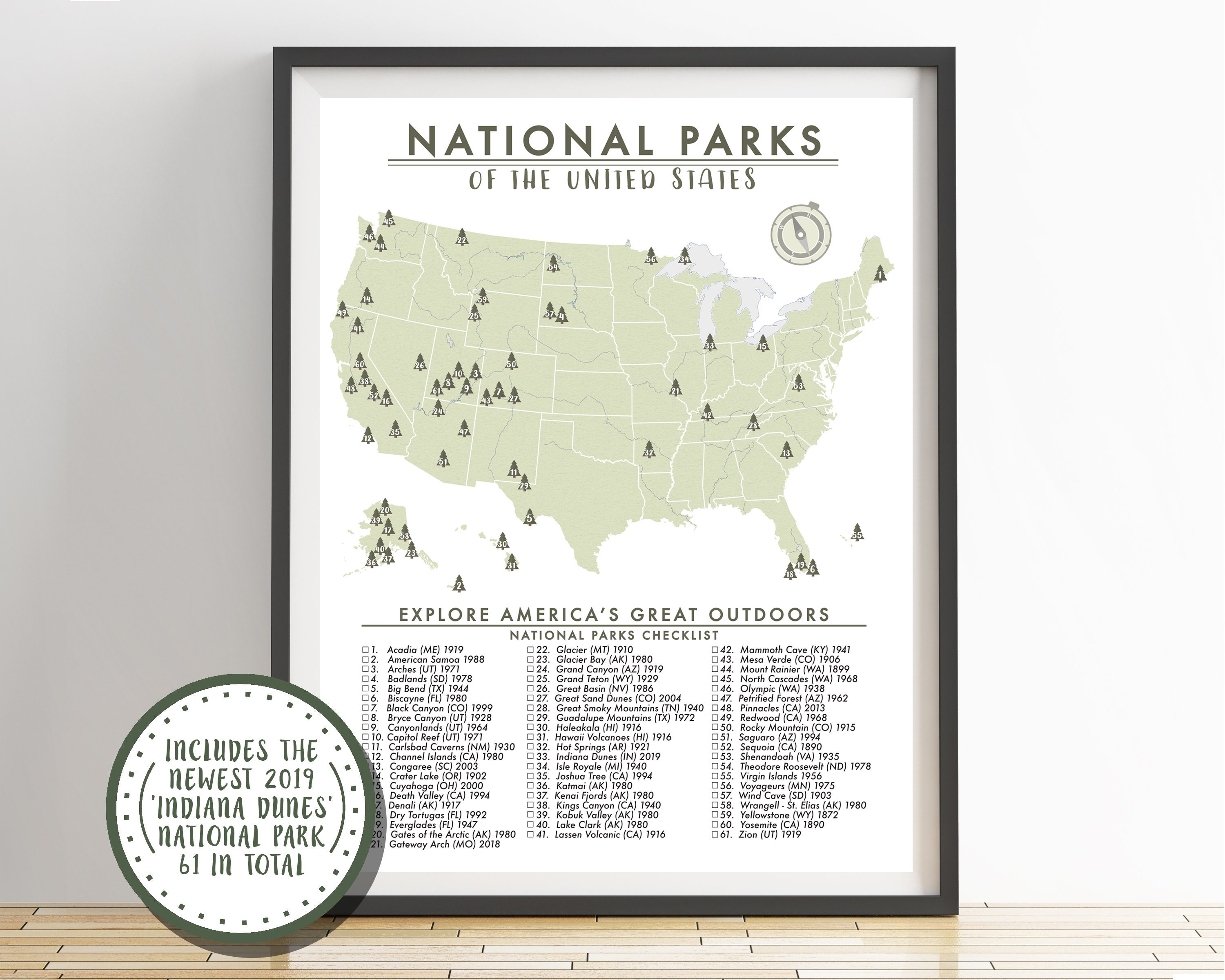 National Parks Map of the United States Parks Checklist | Etsy