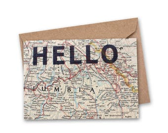 Hello Card - Vintage Map Card - Thinking of You Card - Miss You Card - Just Because Card - Travel Card - Handmade - World Map Card - VM-009