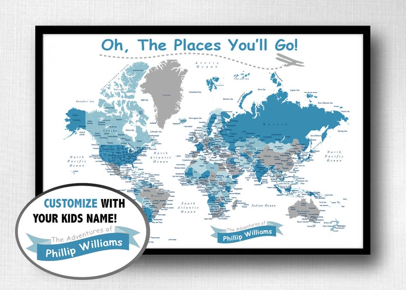 Children\'s World Push Pin Map Print Only Oh The Places   Etsy