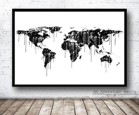 Paint Splatter World Map Print, Travel Poster, World Map Poster, World Map  Art, 24x36 Poster
