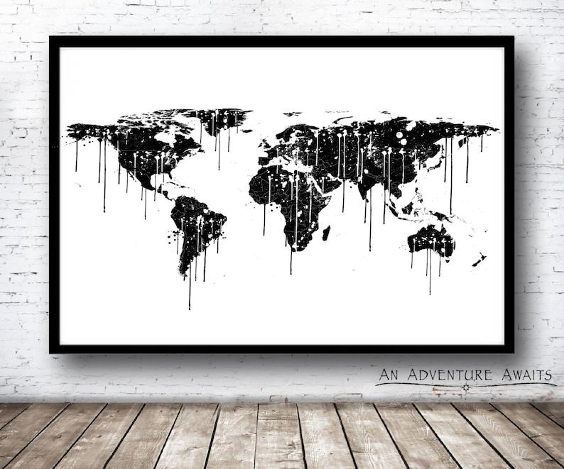 Paint Splatter World Map Print Travel Poster World Map   Etsy