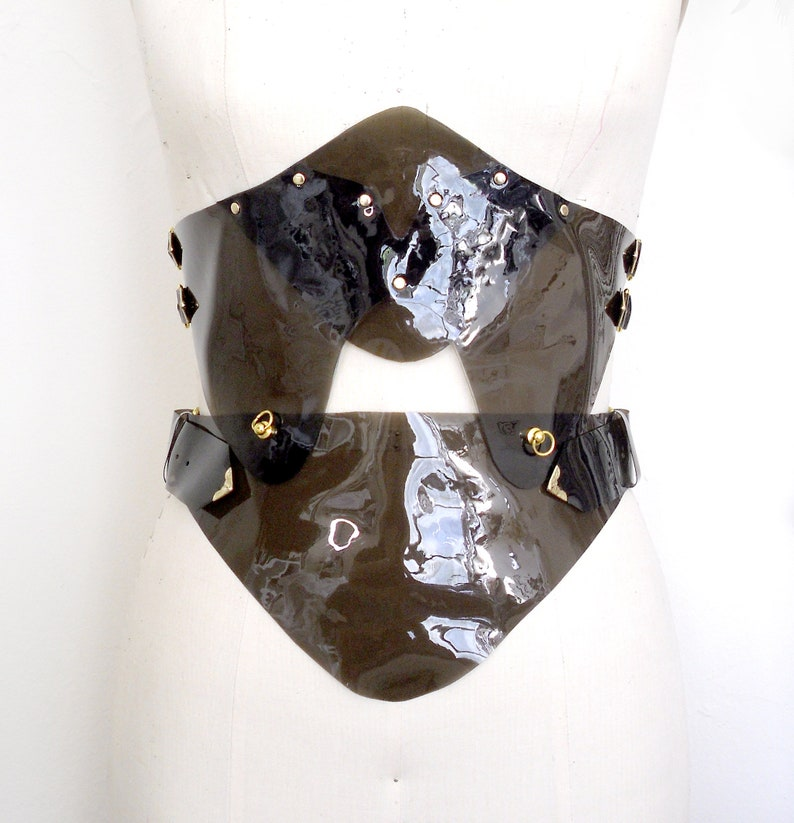 Faux Leather Corselette Vegan Leather Plastic Vinyl Corset Dominatrix Style Burning Man Gothic Waist Cincher Nox Charcoal PVC Waspie