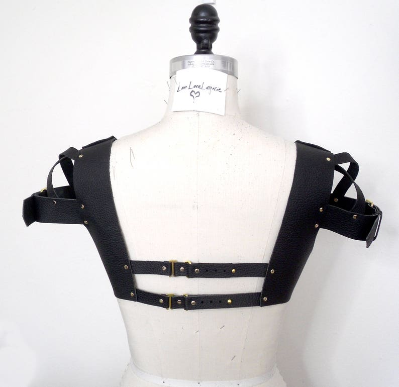 4c9d00ae0858e Leticia Black Leather Bra Crop Top Leather Harness Fetish