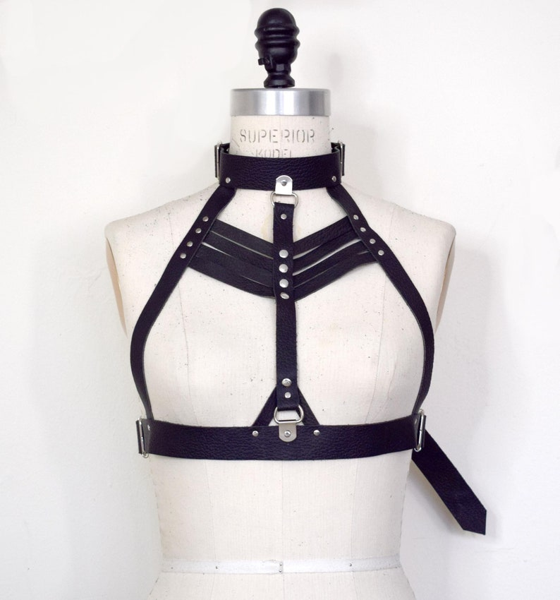 bc2d9bcb9b Clara High Neck Leather Harness Bra Black Body Cage Strappy