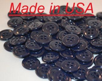 """3/4"""" Navy Blue Plastic Buttons - 20 mm Bulk Blue Buttons - Wholesale Button Lot - Blue Buttons - Button Lot - Sewing Button"""