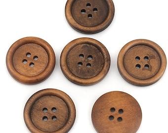 """1"""" Wood Sewing Buttons Dark Brown 1 inch Wood Buttons - 25mm Wooden Button - Bulk Wood Buttons - Craft  Supplies"""