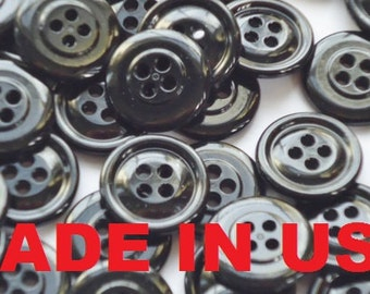 """Black Plastic Button 3/4"""" - Black Button - Black Resin Button - 4 hole - Made in US"""