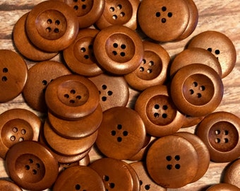 """Wood Buttons - 1"""" Brown Wood Buttons - 1 inch Wooden Buttons - 25mm  Buttons - Sewing Buttons - Craft Buttons Supplies"""