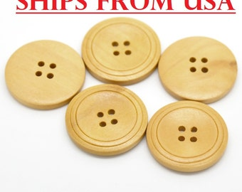 "100 Lg Wood Button 1 1/4"", 32mm, Bulk Wood Buttons, Wholesale Wood Buttons Bulk Wood Buttons Wooden Button Natural Wood Finish Buttons"