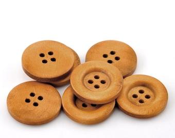 "Wood Buttons - Medium Brown Wooden Buttons 7/8 "" 23mm Wood Buttons - 4 holes"