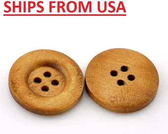"""100 7/8"""" Medium Brown Wooden Buttons, 7/8 inch Wood Buttons 23mm Wood Wooden Buttons Bulk Wood Button Wholesale Wood Buttons Wholesale"""