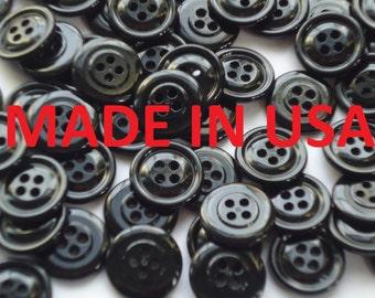 """3/4"""" Black Buttons - 20mm -  Black Plastic Buttons - 30L Bulk Black Buttons - Wholesale Buttons"""