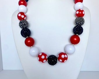 and Red Polka Dot Chunky Necklace White Cruella Black