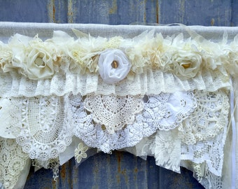 White off Ivory cream shabby chic valance with flowers Rod Pocket Curtain Window Drapery Custom Made to Order Cottage chic Farmhouse Curtain