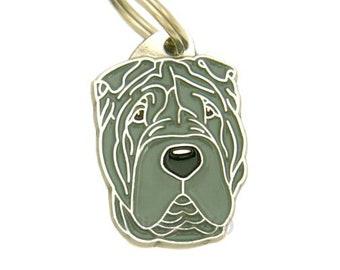 Personalised, stainless steel, breed pet tag, MjavHov, Shar - pei