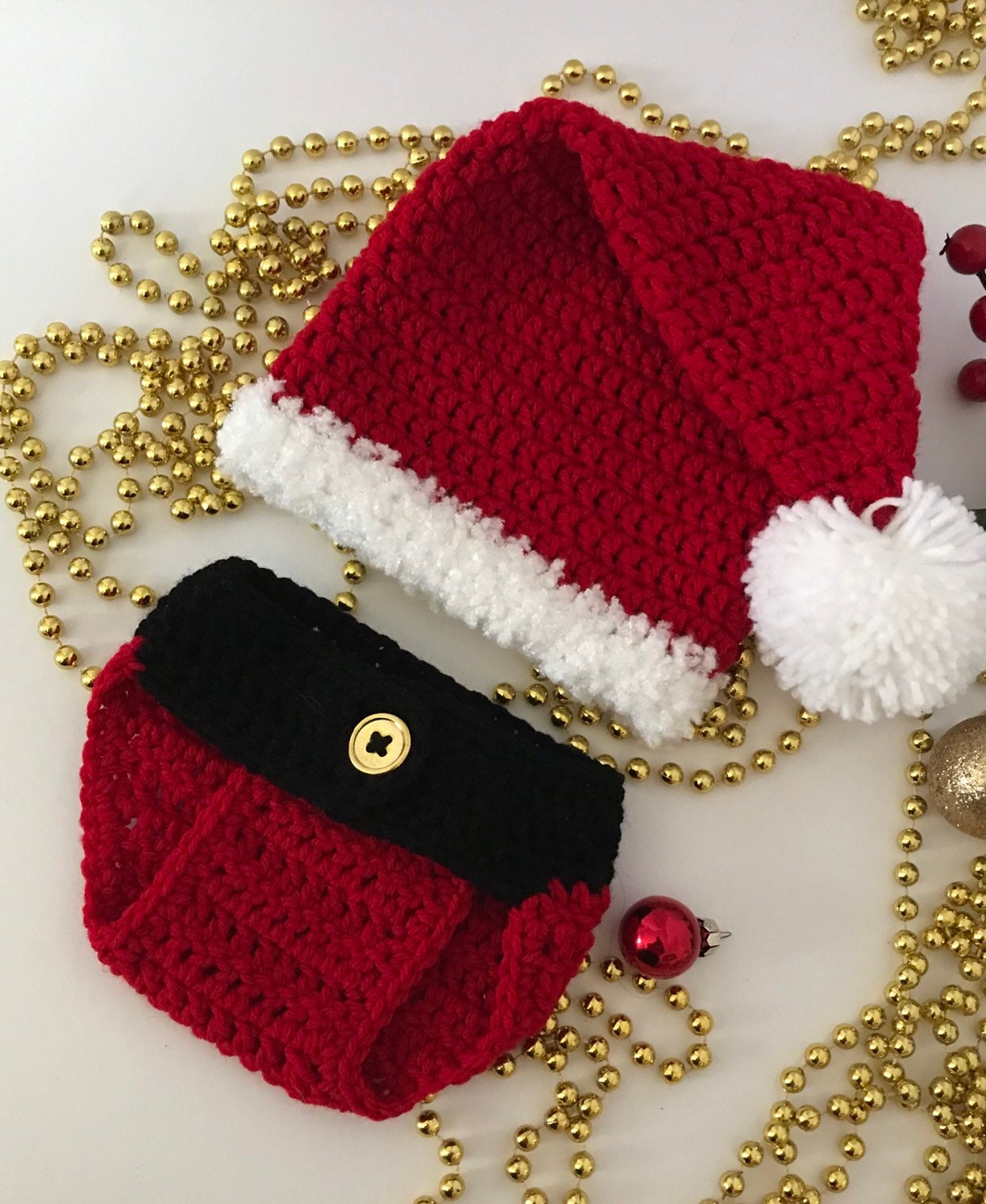 142fcd522 Crochet Santa Hat with Diaper Cover Photography Prop Baby