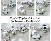 CLIP LOCK Stop Lock For European Bracelet Diamond Crystal Charm Bead Large Hole Fit Charm Bracelet Clip On Birthstone Colors A09
