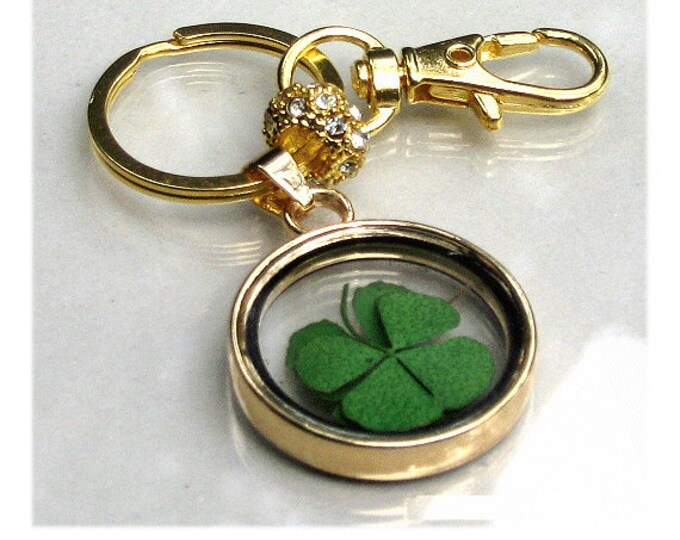 4 Leaf Clover Keychain Dried Flower Purse Charm For Handbag Accessories Pressed Flower Gift For Teacher Mom Daughter Aunt Cousin Nana #K1149