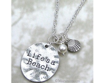 Life's A Beach Necklace Personalize Birthstone Crystal Shell Pendant Necklace Life Is A Beach Charm Necklace Gift For Best Friend #N523