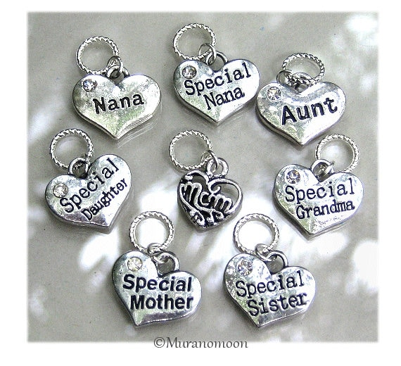 Heart lampwork clip on dangle charm jewellery making crafts personalised gifts
