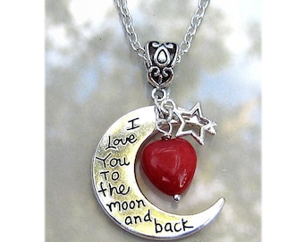 I Love You To The Moon And Back Necklace Ruby Heart Moonstone Gemstone I Love You To The Moon And Back Charm Necklace #N521