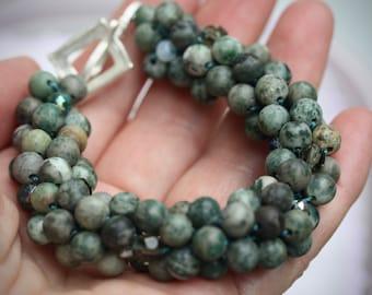 MIXED MEDIA bead crochet bracelet - Ching Hai Jade, crystal, glass, metal