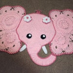 crocheted elephant rug