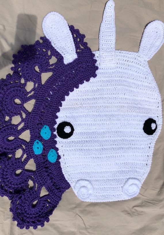 Tapis De Licorne Au Crochet Fait Main Etsy