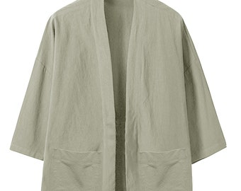8c6e511fa2af Embroidery Cotton Muang Shirts Men Kimono Traditional Open Stitch Shirts  Male Three Quarter Sleeve Shirt Harajuku