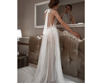 c5f3c35e024 Long Sheer Bridal Nightgown with Lace F41