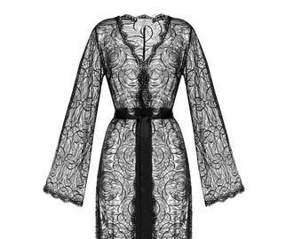Bridal Long Black Lace Robe F3 roses (black), Black Lingerie, Boudoir, Wedding Lingerie, Black Sleepwear Lingerie, Christmas Gifts, For Her