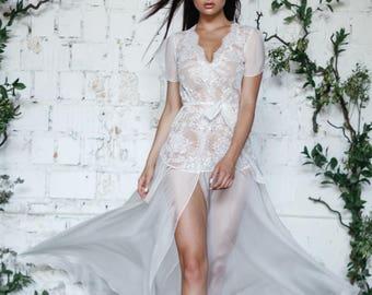 Ivory Lace and Tulle Bridal Robe F27, Bridal Robe, Black Lingerie, Black Sleepwear Lingerie, Boudoir, Christmas Gifts, Silk Robe