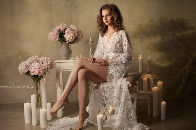 Long Lace Bridal Robe F3Lingerie Nightdress Bridal  fd27a8835