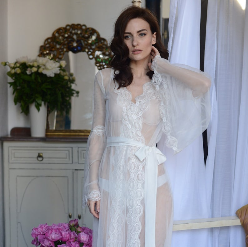 2d8bdab5308 Lace-trimmed Tulle Bridal Robe F10 Lingerie Nightdress